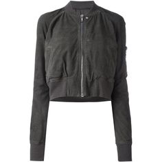 Rick Owens cropped bomber jacket ($1,580) ❤ liked on Polyvore featuring outerwear, jackets, grey, zip jacket, zip front jacket, zipper jacket, bomber jacket and grey cropped jacket