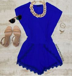 - Details - Size Guide - Model Stats - Contact Go goo goo for this Suzie Romper in royal blue! Features a lightweight, chiffon-knit fabric with minimal stretch. Draped, V-neck front with hidden button
