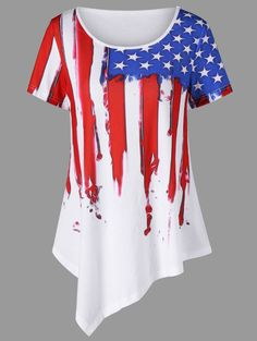 American Flag Painted Asymmetric T-Shirt - WHITE 2XL