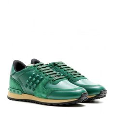 263ad5055334 Valentino Rockstud Leather Sneakers (637 AUD) ❤ liked on Polyvore featuring  shoes