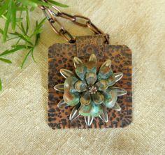 OOAK Copper Pendant Verdigris Patina Flower by fitzidesigns, $40.00