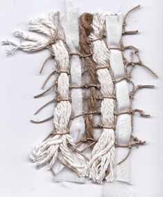 """theworldinmyimage: woven swatch. knotted net of hemp cord with cotton strings, jute, and strips of silk cotton. (from the """"roots"""" project below)"""