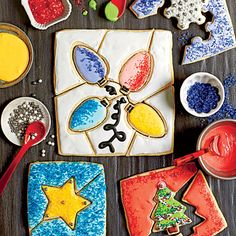 Christmas Cookie Puzzles | Choose cutters with simple shapes; they're easier to handle and less likely to break. If you want to make small puzzles, cut dough into 4-inch squares, and use a single cookie cutter to punch out the center of each square while still hot from the oven. Working quickly, cut lines from edges of square to form puzzle pieces. Store icing in an airtight container at room temperature up to 1 week.