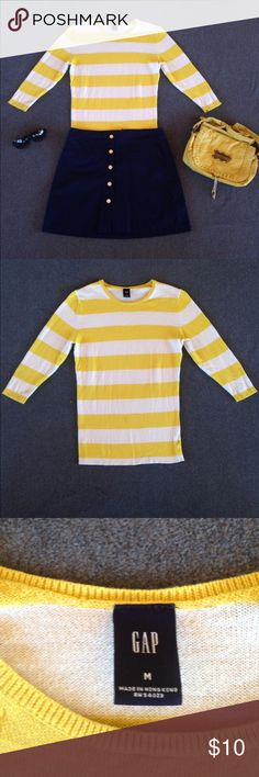 Gap Sweater 🐝 Cotton/cashmere blend sweater by Gap. Feels soft and wonderful ☀️ A tad too big for me; otherwise I'd be keeping it! There is a mark on the front of the sweater (see pictures) that has not come out in the wash. If anyone has tried-and-true stain removal tricks, this just may come out. Otherwise, wearing a long necklace would disguise it. GAP Sweaters