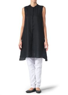 03a9e3503ab Vivid Linen Sleeveless Aline Long TunicXXLBlack     Continue to the product  at the image link.