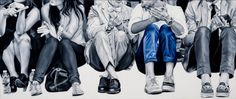 NY Fashion Week Blue Jeans, 2013, Oil on canvas, 31″ x 75″ by Marta Penter http://nashvillearts.com/2013/07/12/field-notes-marta-penter/
