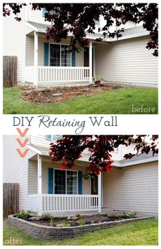 How to build a diy retaining wall to make a drastic change to curb appeal in the cheapest and easiest way in a weekend without needing professionals.