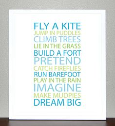 Items similar to Kids wall decor, Inspiration quote prints for children - BE A KID - Poster on Etsy Playroom Storage, Playroom Ideas, Playroom Art, Nursery Ideas, Boy Room, Kids Room, Child's Room, Orange And Turquoise, Kids Corner