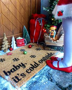 Baby It's Cold Outside Christmas doormat - Famous Christmas Song Festive Doormat - Handspray Christmas Doormat, Christmas Porch, Xmas, Its Cold Outside, Porch Decorating, Wonderful Time, Doormats, Irish, The Outsiders