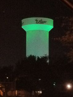 One of my FAVORITE USF traditions; lighting the tower green after winning a home football game! This is the old tower!!