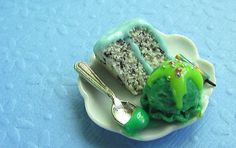Polymer Clay Cake and Ice Cream Party Plate 1/12 by mousemarket, $22.50