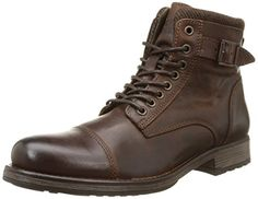 JACK & JONES Jjalbany Leather Boot Brown Stone, Herren Halbschaft Stiefel, Braun (Brown Stone), 44 EU - http://on-line-kaufen.de/jack-jones/44-eu-jack-jones-jjalbany-herren-halbschaft