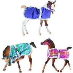 Breyer Horse Foal Blanket Assorted Colors Style May Vary by Reeves. $18.99. Horse not included!. Item is only for one blanket (color will vary). For ages 8+. Fits most traditional size Breyer Foals. Each blanket is finished with trim featuring a hook and loop chest strap, metal buckle surcingle, and Breyer logo on the shoulder.  Fits most Traditional size foal models. Price includes ONE blanket and halter.  Styles Vary.