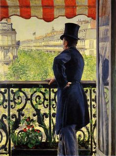 "artist-caillebotte: Man on a Balcony, Boulevard. - artist-caillebotte: ""Man on a Balcony, Boulevard Haussmann via Gustave Caillebotte Medium: oil on canvas"" Claude Monet, Belle Epoque, Van Gogh Pinturas, French Impressionist Painters, Illustration Art, Illustrations, Classic Paintings, Post Impressionism, Art Database"