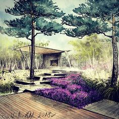 Architectural Drawings Garden can not live wthout water. Garden and architecture design made by Wiktor Kłyk. Landscape Sketch, Landscape Architecture Design, Landscape Drawings, Architecture Details, Water Architecture, Architecture Definition, Garden Drawing, Backyard Landscaping, Landscaping Ideas