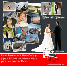A nice clean layout that highlights your favorite wedding images. Let us create a photo collage puzzle layout for you. jigsaw2order.com #photo #collage #puzzle