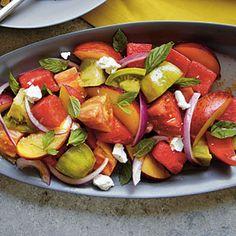 Heirloom Tomato, Watermelon, and Peach Salad | MyRecipes.com #myplate #vegetable #fruit