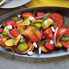 Heirloom Tomato, Watermelon, and Peach Salad | MyRecipes.com #myplate #vegetable #fruit