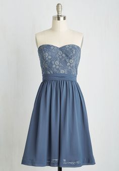 Twirl into a dream each time you style this dreamy dusty blue dress! You could write a novel about its blissful sweetheart neckline, gold-glimmering lace bodice, gathered waistband, and pockets. Part of our ModCloth namesake label, this gloriously flowy, back-tied frock brings character to your fancy celebration!