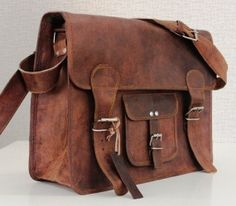 Large Satchel Leather Bag - Retro Style Messenger Bag School Bag