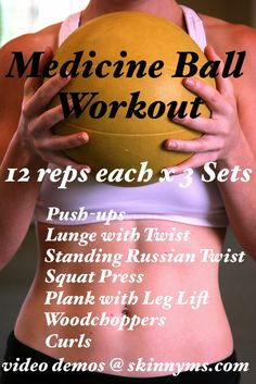 Transform your body with the Medicine Ball Workout!  Perform 3 x's weekly and see results in less than 3 weeks!!!