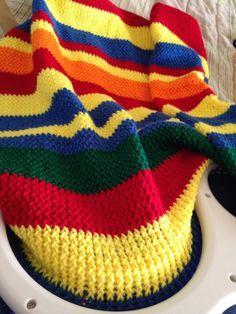 KB Afghan Loom- Loom Knitted Primary color learning Blanket by Karen Inman Loom Knitting Projects, Loom Knitting Patterns, Afghan Patterns, Yarn Projects, Diy Craft Projects, Knitting Ideas, Craft Ideas, Loom Knitting Blanket, Afghan Loom