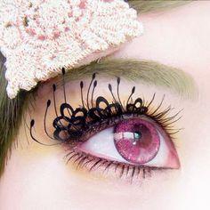 Pink circle lenses かわいいまつげ*リコリス*紙製つけまつげ