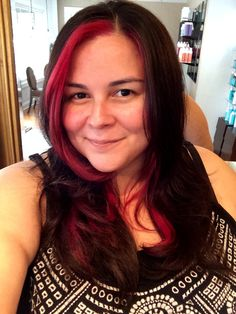 Dark brown hair with hot pink highlights. #fun #colored #hairstyles