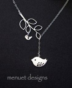 Silver Mama Bird Lariat Necklace Baby Bird. by MenuetDesigns, $32.50