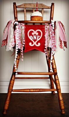 VALENTINE Inspired Birthday Age high chair by RawEdgeSewingCo