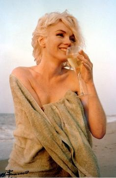 """Marilyn Monroe - 1962 - Drinking Wine - Photo by George Barris - @~ Mlle """"Imperfection is beauty, madness is genius and it's better to be absolutely ridiculous than absolutely boring."""""""
