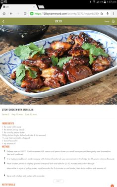Sam Wood Sticky chicken with broccolini Clean Eating Recipes, Healthy Eating, Cooking Recipes, Healthy Recipes, Chicken Broccolini Recipe, 28 By Sam Wood, Sticky Chicken, Sweet Chilli Sauce, Meal Planning