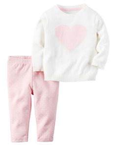 online shopping for Carter's Baby Girls' 2 Piece Sets from top store. See new offer for Carter's Baby Girls' 2 Piece Sets Heart Sweater, Sweater Set, Carters Baby Girl, Toddler Girl, Baby Girls, Zara Baby, Girl Sleeves, Sweaters And Leggings, Floral Leggings