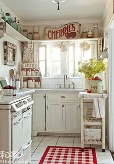 Cute and small, antic looking kitchen.