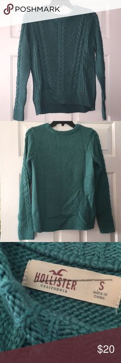 Teal Hollister Sweater Chunky Knit Teal Hollister Sweater (never worn)  ------------------------------------------------------------------------------ •Size: Small ------------------------------------------------------------------------------ Hollister Sweaters