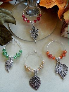 Set of 4 Wine Glass Charms Different Fall Color Leaves Perfect for the Holiday Liquor Bottle Crafts, Wine Glass Crafts, Wine Bottles, Wine Decor, Painted Wine Glasses, Fall Jewelry, Wine Charms, Jewelery, Jewelry Making