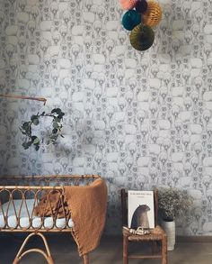 """""""Such a gorgeous bear wallpaper that would fit perfectly in either a girl's or boy's room from…"""""""