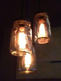 Rustic light pendulums at a local restaurant. The Sandbar, Anna Maria, FL. Florida Living, Rustic Lighting, Mason Jar Lamp, Light Up, Anna, House Ideas, Table Lamp, Restaurant, Club