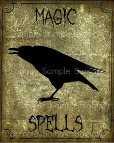Primitive Raven Magic Spells Label Feedsack Logo by Starrmtnprims, $3.00