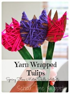 Yarn Wrapped Tulips {Fine Motor Friday}- lasting bouquet for Spring and/or Mother& Day! Yarn Wrapped Tulips {Fine Motor Friday}- lasting bouquet for Spring and/or Mothers Day! Fine Motor Activities For Kids, Spring Activities, Craft Activities, Kids Motor, Flower Activities For Kids, Senior Activities, Children Activities, Camping Activities, Camping Crafts