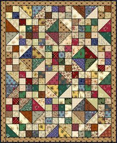 "This is a quilt pattern called Buckeye Beauty. It is great for using up scraps. ""This is a quilt pattern called Buckeye Beauty. It is great for using up sc Scrap Quilt, Scrappy Quilt Patterns, Lap Quilts, Small Quilts, Mini Quilts, Patch Quilt, Quilt Blocks, Quilting Projects, Quilting Designs"