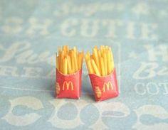 french fries stud earrings