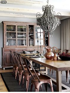 Love the center pieces and hutch