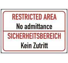 Schild Kein Zutritt  #schild #aluschild #warnschild #sicherheitsbereich #zutrittverboten #zutrittverbotenschild / mehr Infos auf: www.Guntia-Militaria-Shop.de