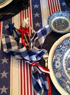 Star picks and ribbon from Michael's create fun July 4 napkin ring