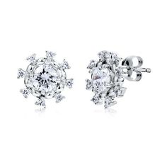 Sterling Silver 925 Cubic Zirconia CZ Snowflake Flower Stud Earrings ($33) ❤ liked on Polyvore featuring jewelry, earrings, accessories, bridal jewellery, bride earrings, sterling silver earrings, bride jewelry and sterling silver jewelry