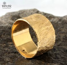 Wide Gold wedding band Hammered Wedding Band Gold by DINARsilver
