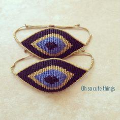 Evil eye macrame bracelet