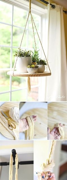 5 Outstanding Clever Ideas: Floating Shelf With Pictures Frames floating shelves with rope easy diy.Floating Shelf Hallway Storage floating shelves with rope easy diy. Diy Hanging Shelves, Floating Shelves Diy, Wall Shelves, Bathroom Shelves, Floating Plants, Book Shelves, Window Shelves, Window Shelf For Plants, Kitchen Shelves