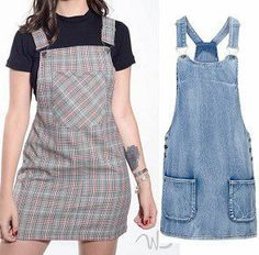Indie Fashion, Hijab Fashion, Fashion Outfits, Jean Overall Dress, Diy Clothes, Clothes For Women, Apron Dress, Pinafore Dress, Modern Outfits